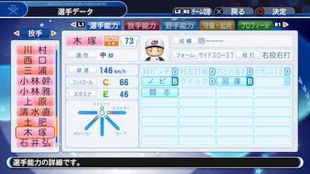 木塚敦志の選手ステータス画像