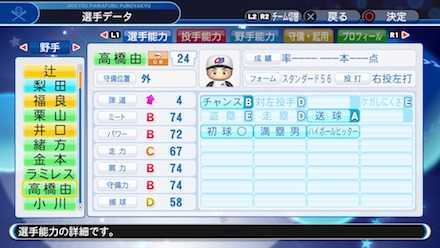 高橋由伸の選手ステータス画像