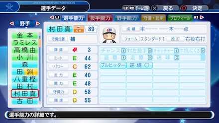 村田真一の選手ステータス画像