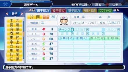 片岡篤史の選手ステータス画像