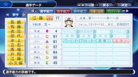 江藤智の選手ステータス画像