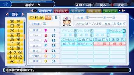 中村紀洋の選手ステータス画像
