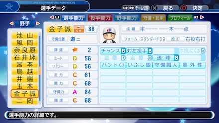 金子誠の選手ステータス画像