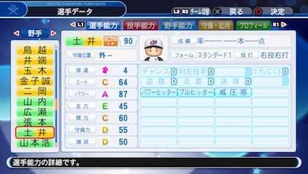 土井正博の選手ステータス画像