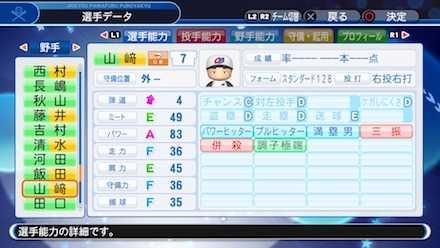 山﨑武司の選手ステータス画像