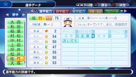 佐竹学の選手ステータス画像