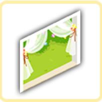 レースカーテンの窓の画像