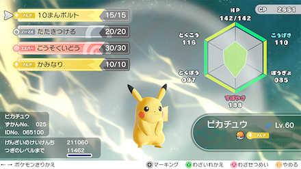 ポケモンレッツゴー(ピカブイ)のポケモンのステータス画面