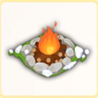 野営の焚き火の画像