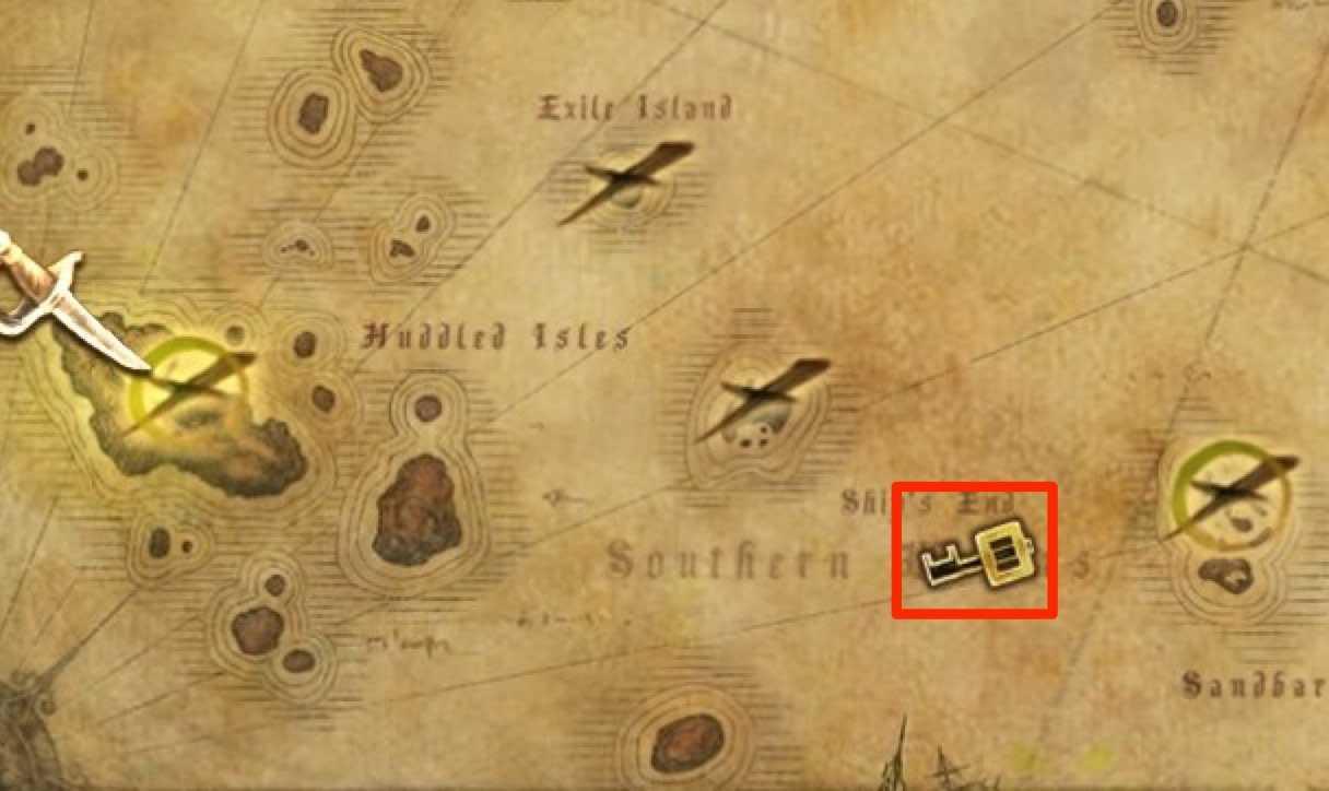 海図にshipendと書かれた場所に出る