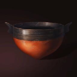 鋭底の赤い陶碗(奇妙な形のお椀)の画像