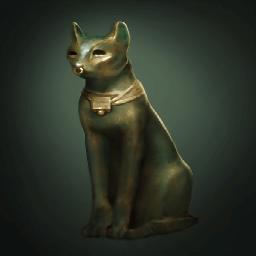 猫の青銅像(鼻輪がある猫神)の画像