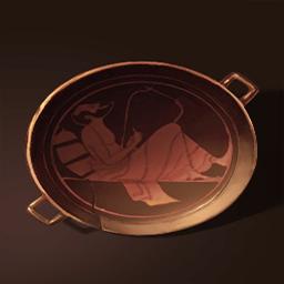 マヤの赤い陶器の器(ハープを弾く者)の画像