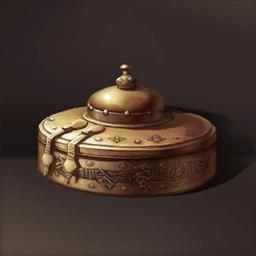 銀と金の円形箱(天空を蓋とする箱)の画像