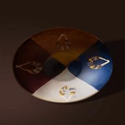 花輪模様の茶碗(四色花びらのお椀)