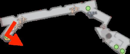 障壁西端の大砲とルート