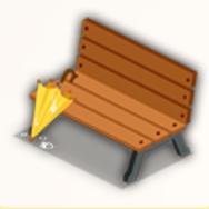 雨のベンチの画像