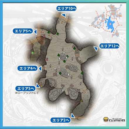 陸珊瑚の台地エリア8のマップ