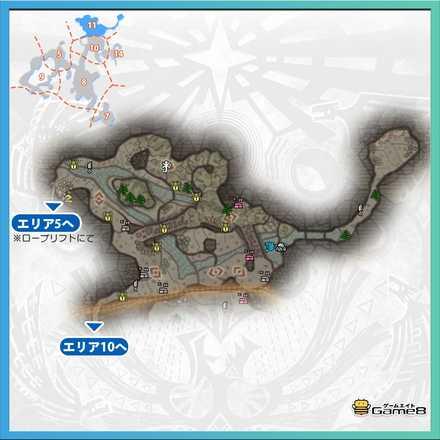 陸珊瑚の台地エリア11のマップ