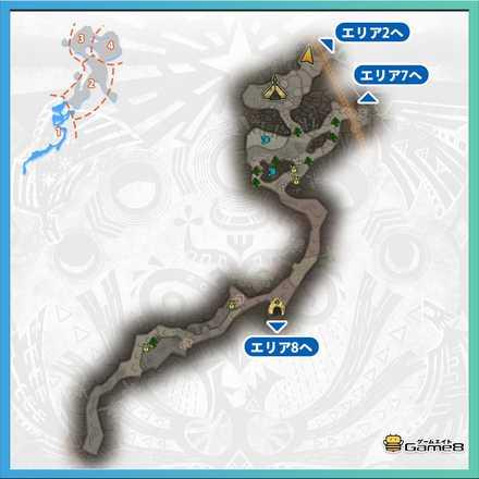 龍結晶の地エリア1のマップ