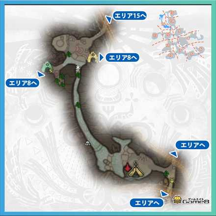 龍結晶の地エリア16のマップ