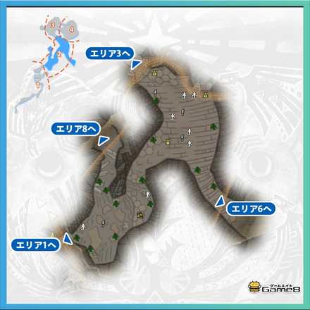 龍結晶の地エリア2のマップ