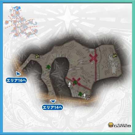 龍結晶の地エリア15のマップ