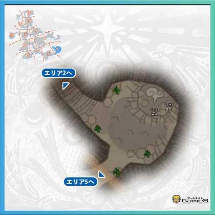 龍結晶の地エリア6のマップ