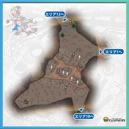 龍結晶の地エリア11のマップ