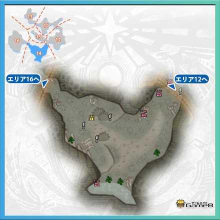 瘴気の谷エリア14のマップ