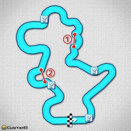 GCヨッシーサーキットRのショートカットマップ