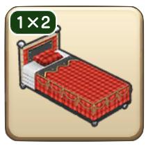 チェックのベッド画像
