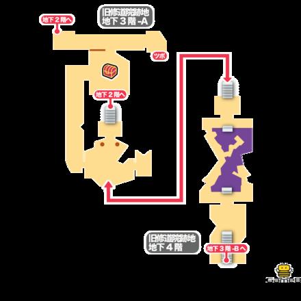旧修道院跡地B3F-A、B4Fのマップ画像