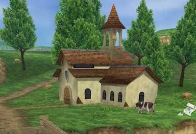 川沿いの教会の外観画像