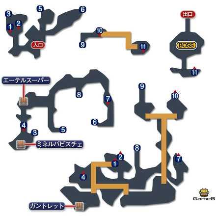 雪男の洞窟のマップ