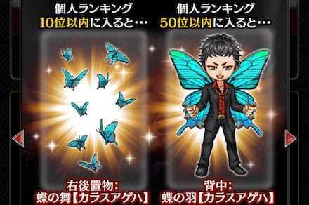 「胡蝶の舞」のランキング報酬