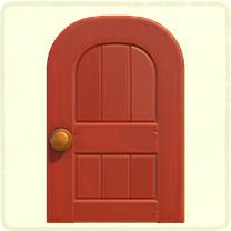 赤い木組みのドア