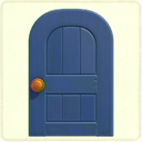 青い木組みのドア