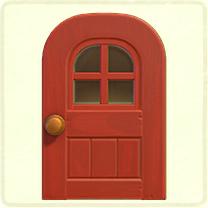 赤い窓付きのドア