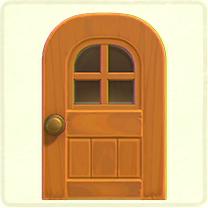 メイプルの窓付きのドア