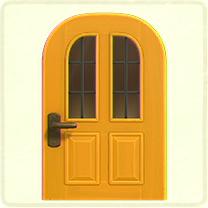 黄色い縦長窓のドア