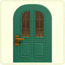 黄緑の縦長窓のドア