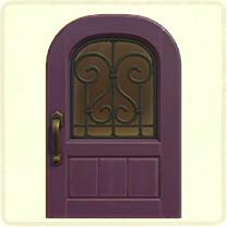 紫のアイアングリルのドア