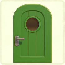 黄緑の丸窓のドア