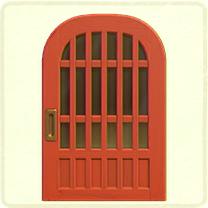 赤い格子のドア