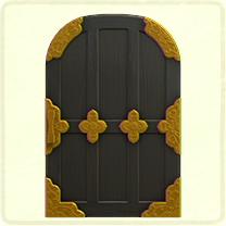 うるし塗りの格子のドア