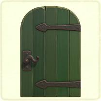 緑の金具のドア