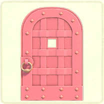 ピンクの鉄のドア