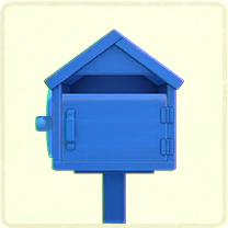 青い木のポスト