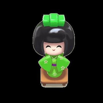 緑日本人形